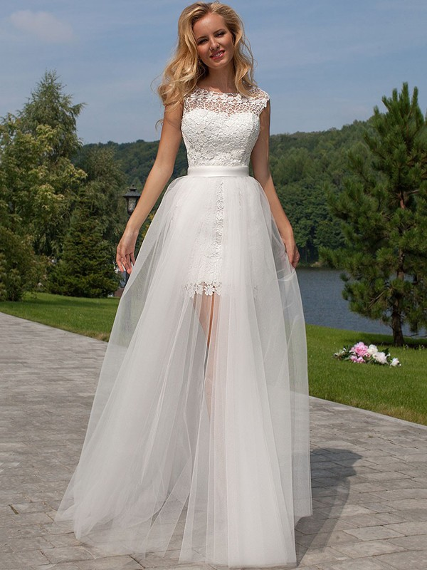 Sheath/Column Scoop Tulle Sleeveless Floor-Length Wedding Dresses