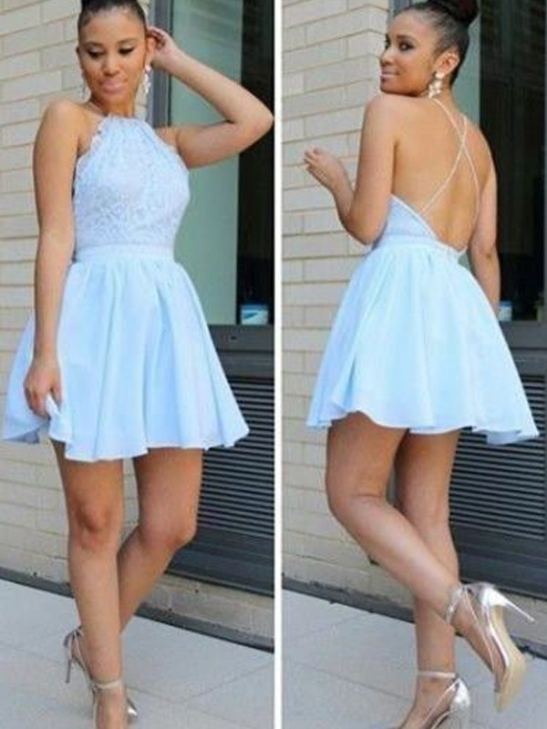 b84f662124 A-line Princess Halter Chiffon Sleeveless Short Mini Dresses