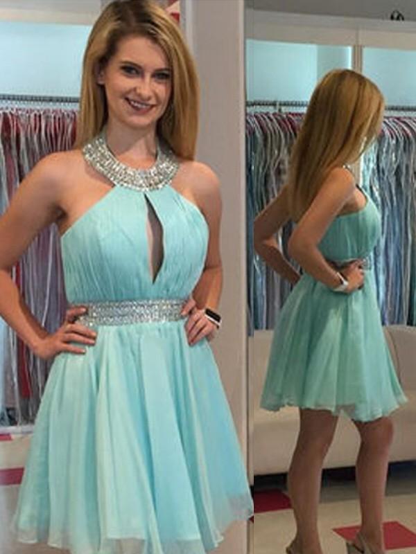 A-line/Princess Halter Chiffon Sleeveless Short/Mini Dresses