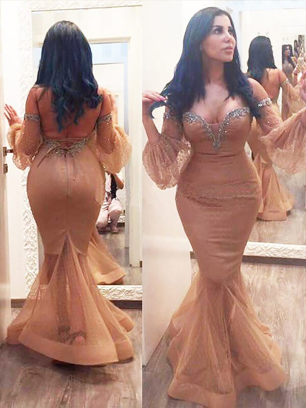 Trumpet/Mermaid Off-the-Shoulder Silk like Satin 3/4 Sleeves Floor-Length Plus Size Dresses