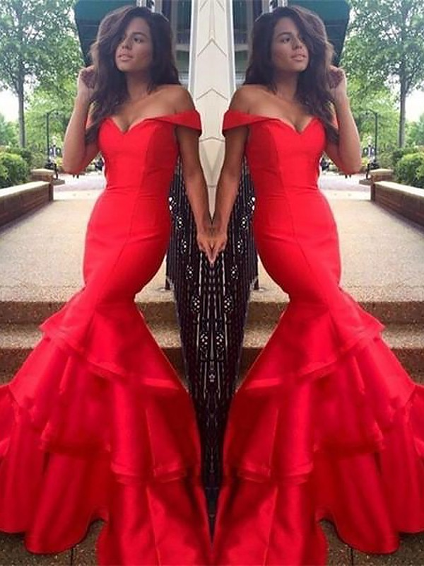 Trumpet/Mermaid Off-the-Shoulder Taffeta Sleeveless Sweep/Brush Train Dresses