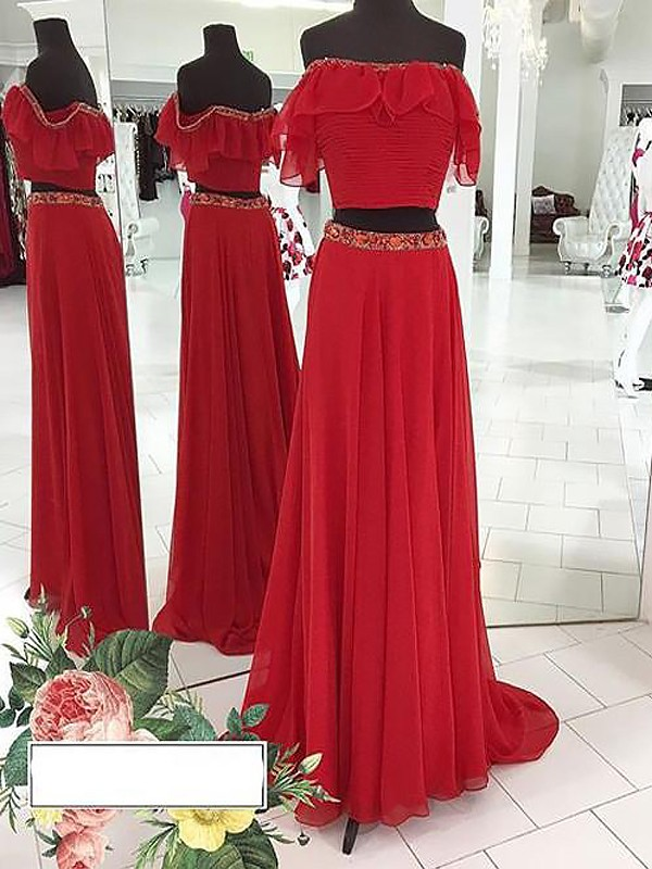 A-Line/Princess Off-the-Shoulder Chiffon Sleeveless Floor-Length Two Piece Dresses