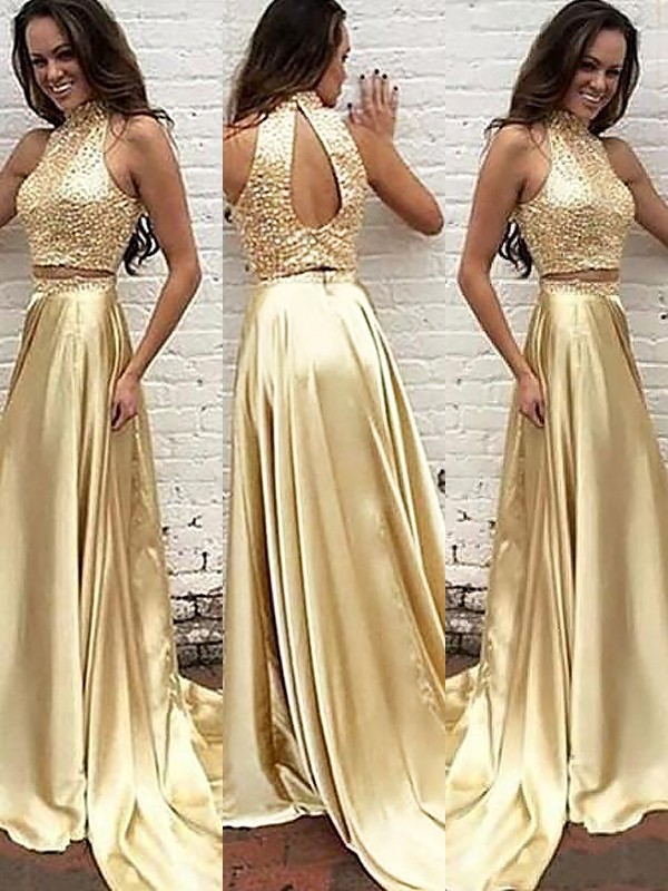 A-Line/Princess High Neck Satin Sleeveless Sweep/Brush Train Two Piece Dresses
