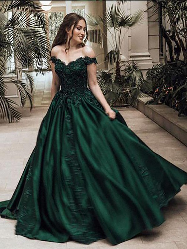 e03ffda3545f Ball Gown Off-the-Shoulder Satin Sleeveless Floor-Length Dresses