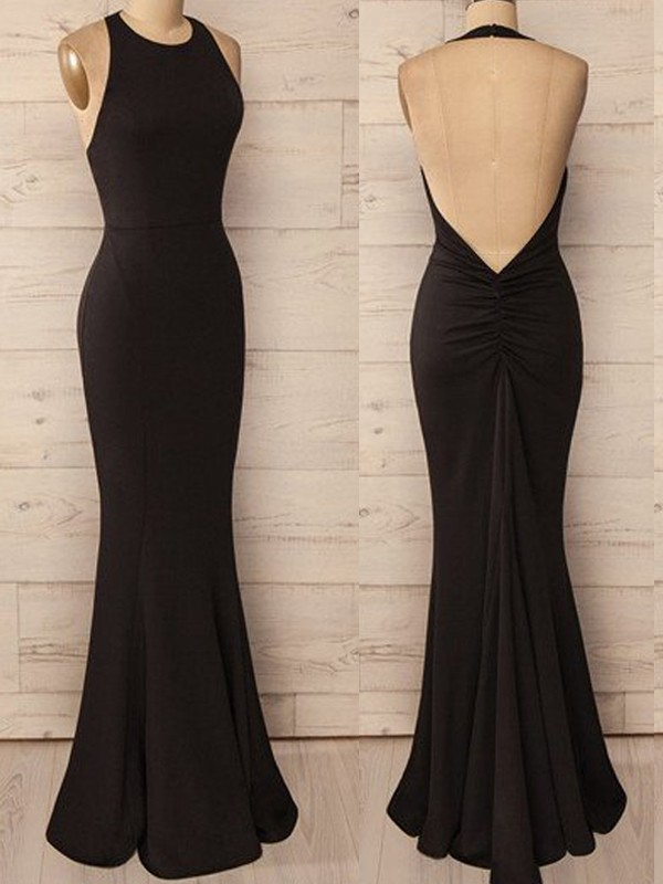 Trumpet/Mermaid Halter Spandex Sleeveless Floor-Length Dresses