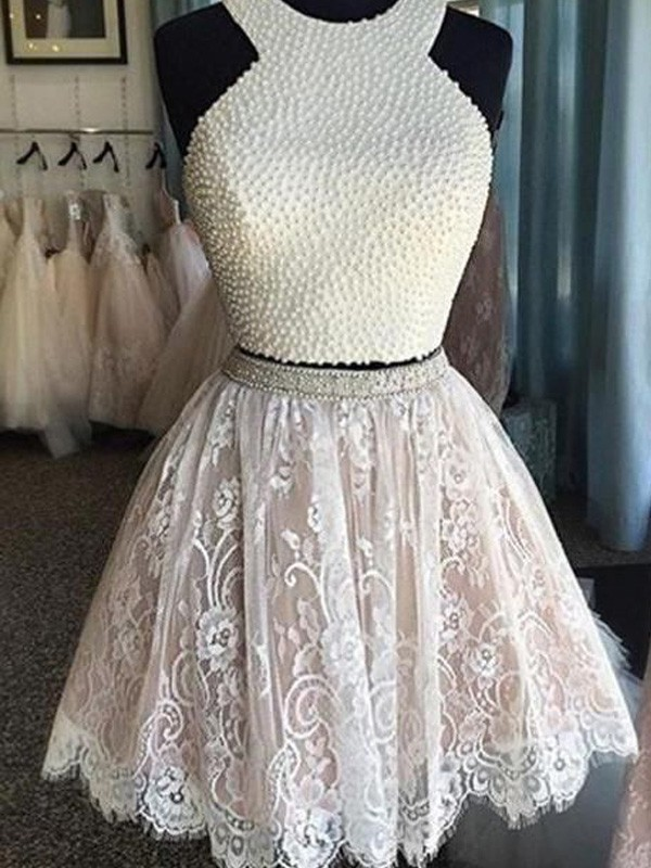 A-line/Princess Halter Lace Sleeveless Short/Mini Two Piece Dresses