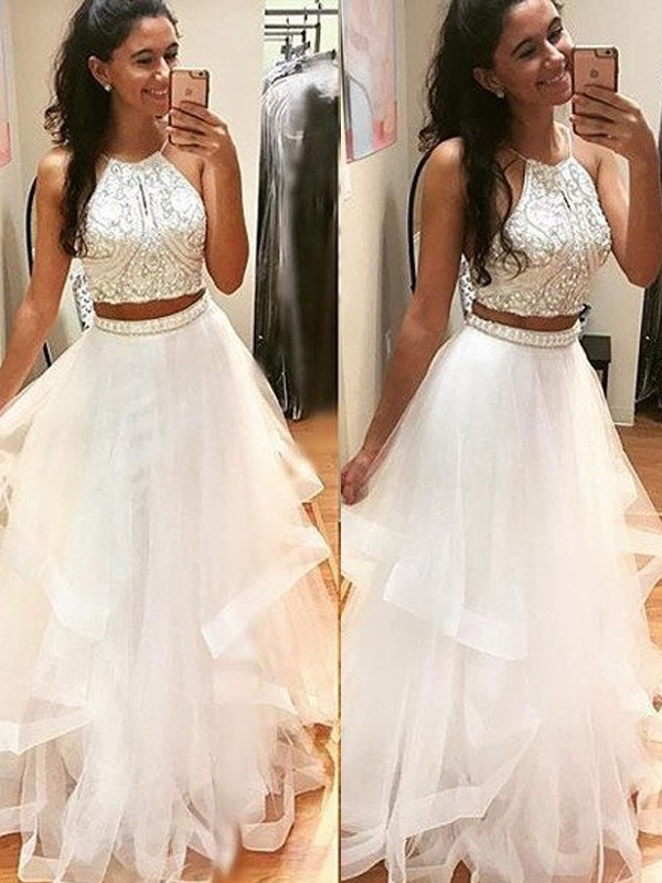 A-Line/Princess Halter Tulle Sleeveless Floor-Length Two Piece Dresses
