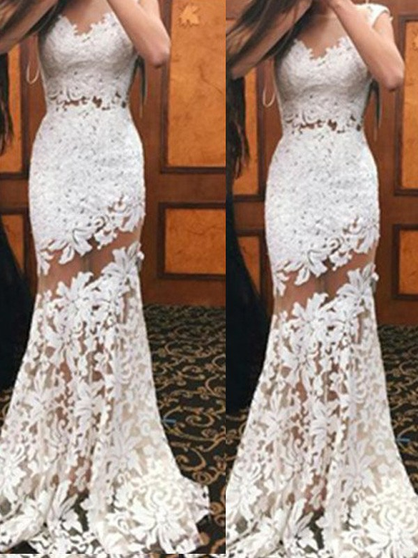Trumpet/Mermaid Scoop Lace Sleeveless Sweep/Brush Train Dresses