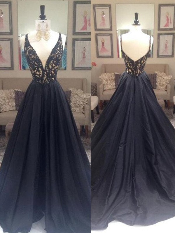 A-Line/Princess V-neck Taffeta Sleeveless Sweep/Brush Train Dresses