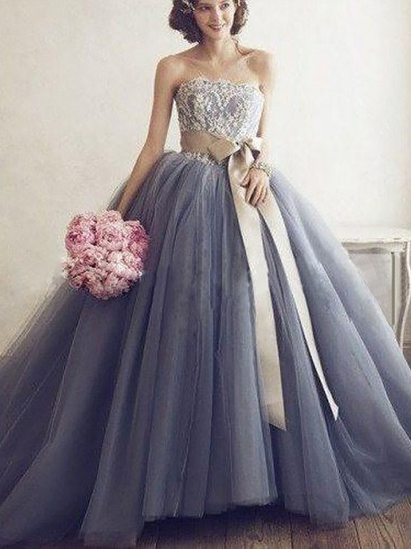 Ball Gown Sweetheart Tulle Sleeveless Sweep/Brush Train Dresses
