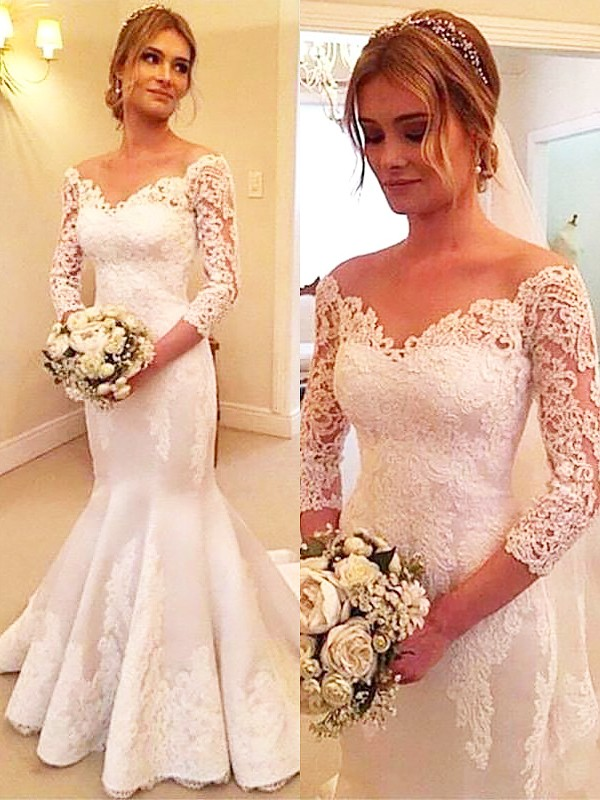 Trumpet/Mermaid Off-the-Shoulder Satin 3/4 Sleeves Court Train Wedding Dresses