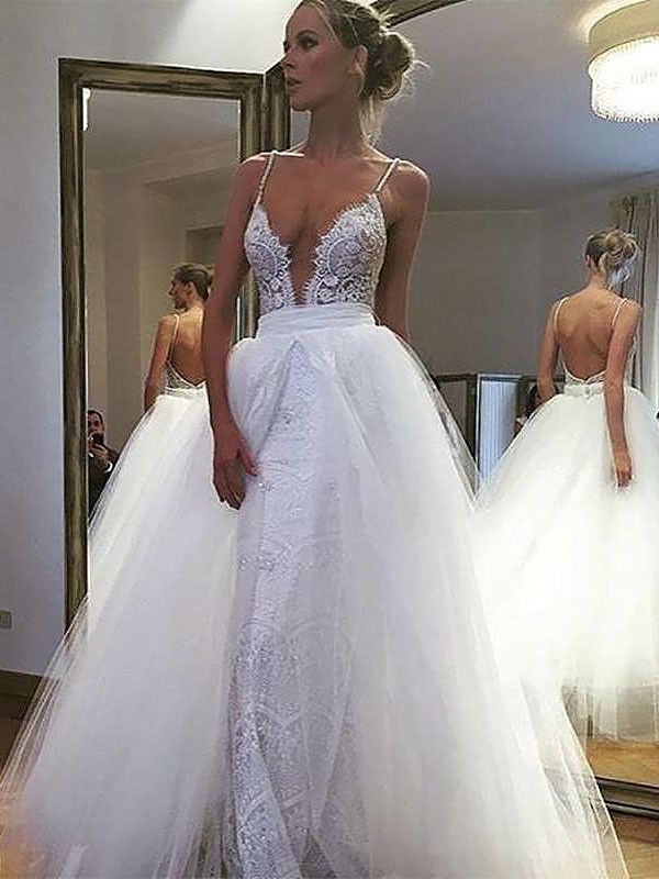 A-Line/Princess Spaghetti Straps Tulle Sleeveless Floor-Length Wedding Dresses