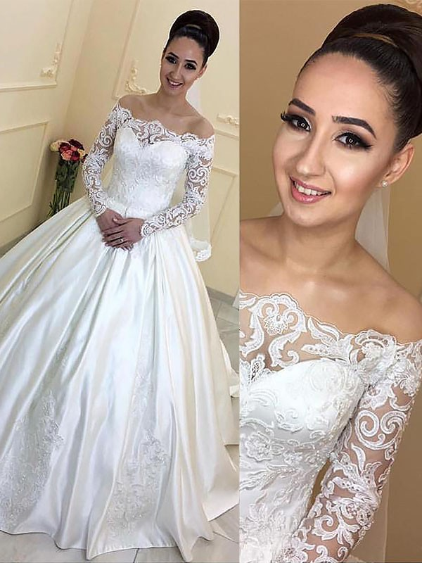 Ball Gown Off-the-Shoulder Satin Long Sleeves Court Train Wedding Dresses