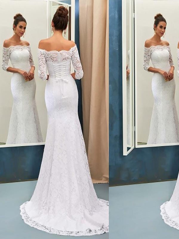 Trumpet/Mermaid Off-the-Shoulder Lace Long Sleeves Sweep/Brush Train Wedding Dresses