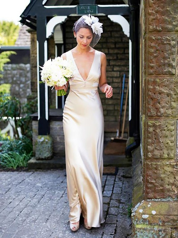 Sheath/Column V-neck Satin Sleeveless Floor-Length Wedding Dresses