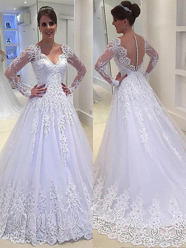A-Line/Princess V-neck Tulle Long Sleeves Court Train Wedding Dresses