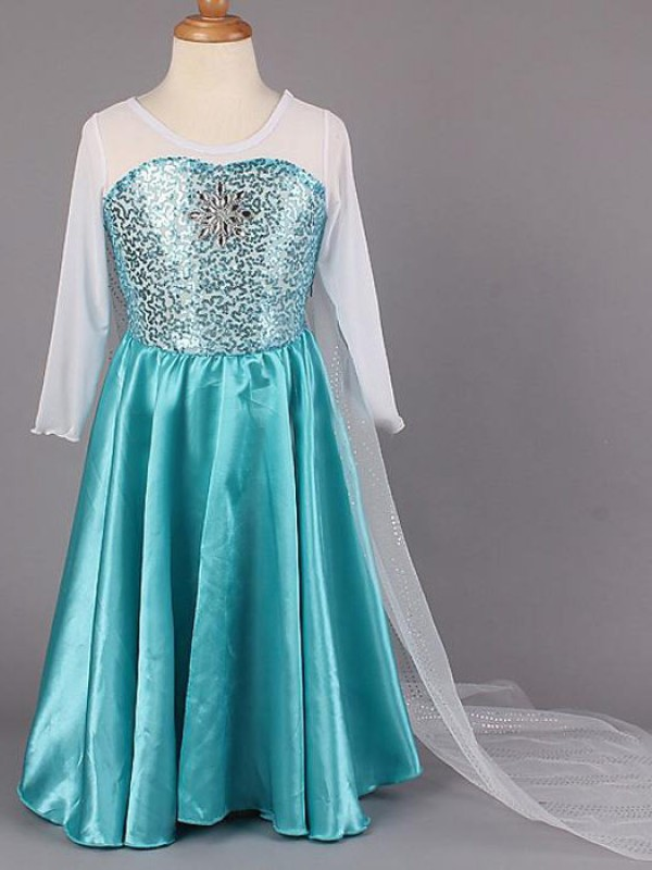 Floor-Length A-Line/Princess Scoop Long Sleeves Beading Satin Flower Girl Dresses