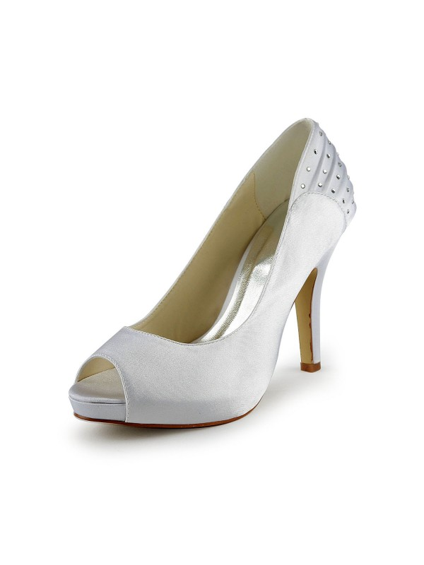 The Most Fashionable Women's Satin Stiletto Heel Peep Toe With Rhinestone White Wedding Shoes