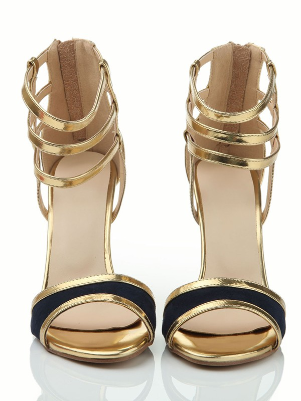 The Most Trendy Women's Peep Toe Stiletto Heel Leather With Zipper Sandals Shoes