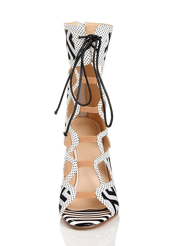 The Most Stylish Women's Stiletto Heel With Lace Up Peep Toe Flock Sandal Mid-Calf White Boots