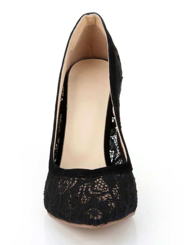 The Most Fashionable Women's Stiletto Heel Lace Black Closed Toe Office High Heels