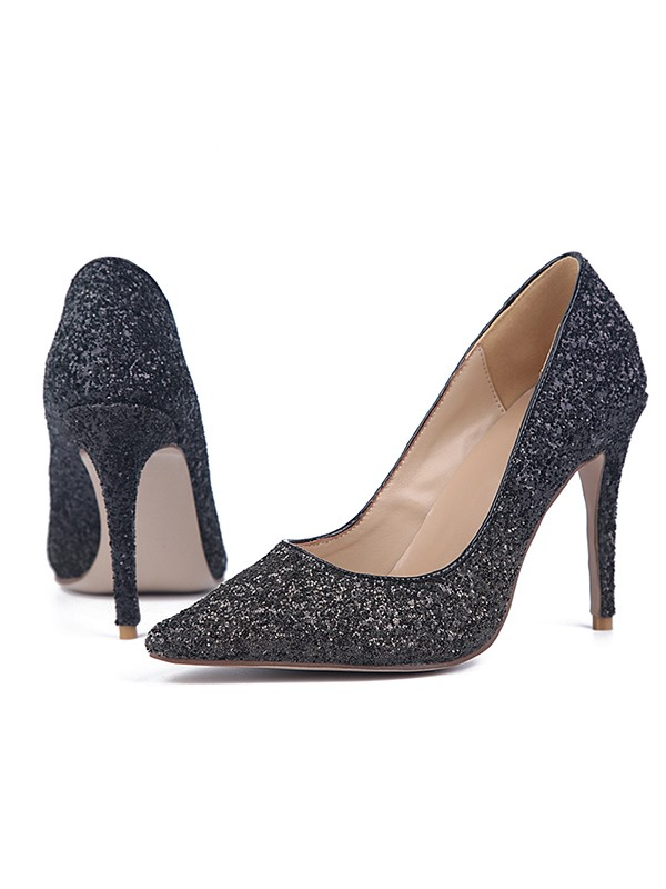 The Most Fashionable Women's Sparkling Glitter Stiletto Heel Closed Toe High Heels