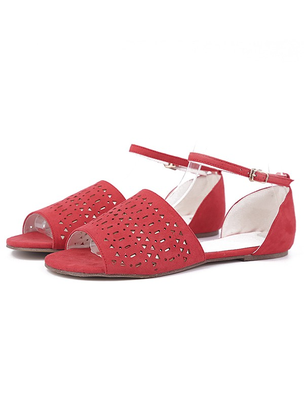 The Most Trendy Women's Flock Flat Heel Peep Toe With Hot Drilling Red Sandals Shoes