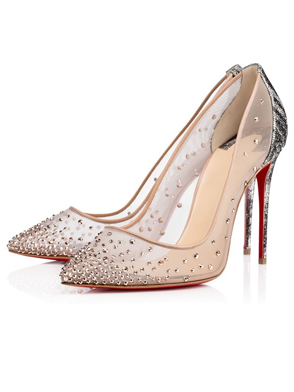 The Most Trendy Women's Closed Toe Stiletto Heel with Hot Drilling High Heels