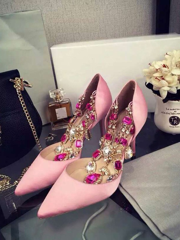 The Most Trendy Women's Pink Stiletto Heel Satin Closed Toe With Rhinestone Chain High Heels