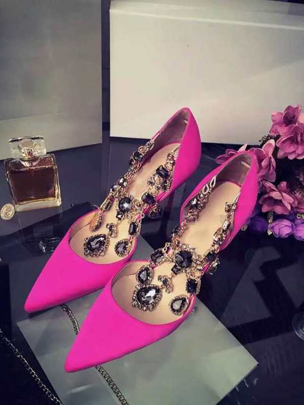 The Most Trendy Women's Satin Stiletto Heel Closed Toe With Rhinestone Chain High Heels