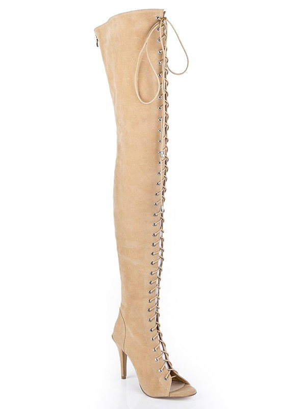 The Most Fashionable Women's Suede Stiletto Heel Peep Toe With Lace-up Over The Knee Champagne Boots