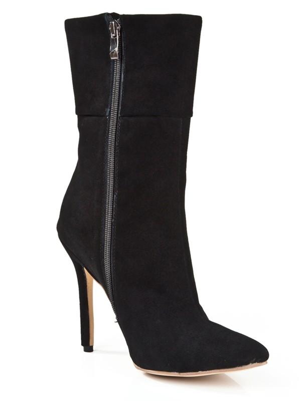 The Most Stylish Women's Suede Stiletto Heel Closed Toe With Zipper Mid-Calf Black Boots