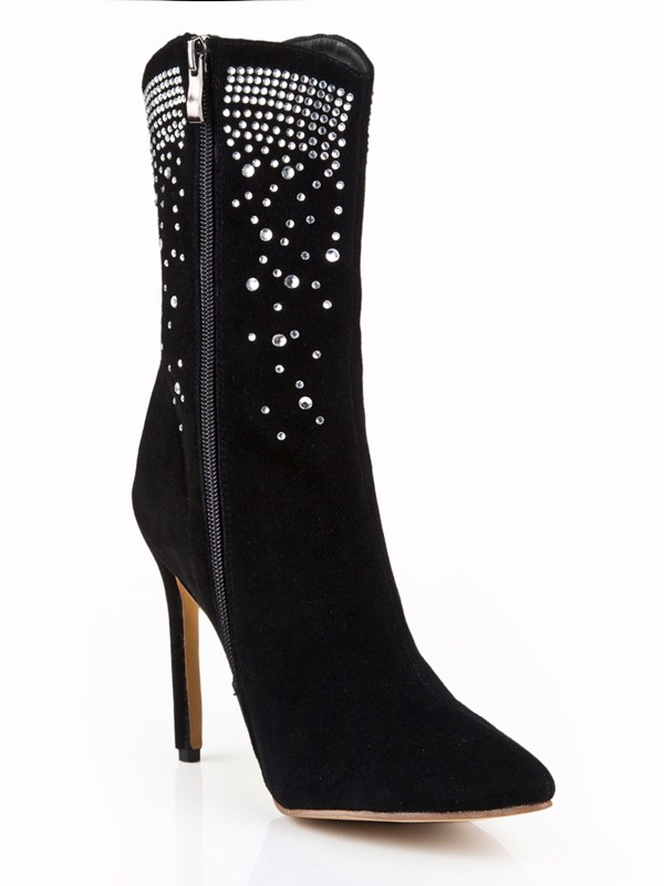The Most Fashionable Women's Suede Stiletto Heel Closed Toe With Rhinestone Mid-Calf Black Boots