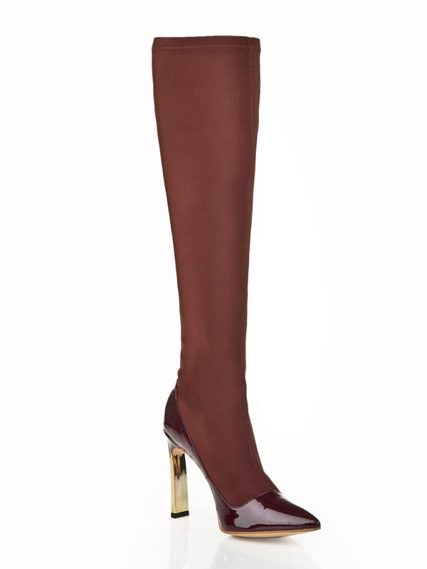 The Most Fashionable Women's Stiletto Heel Elastic Leather With Rhinestone Knee High Chocolate Boots
