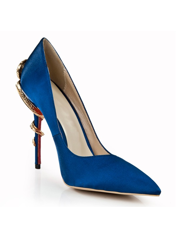 The Most Fashionable Women's Royal Blue Stiletto Heel Closed Toe With Rhinestone High Heels