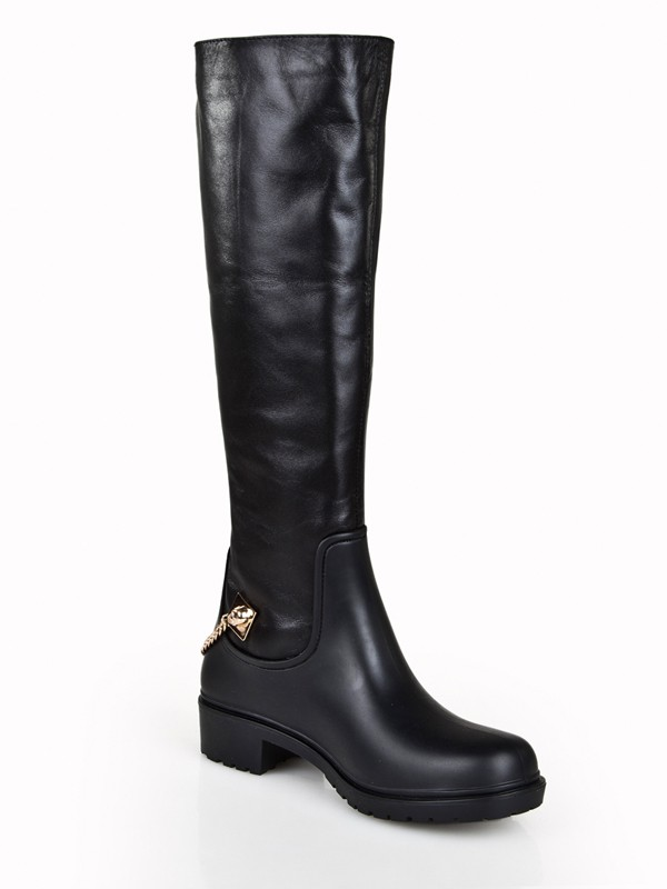 The Most Trendy Women's Cattlehide Leather Kitten Heel Closed Toe With Chain Knee High Black Boots
