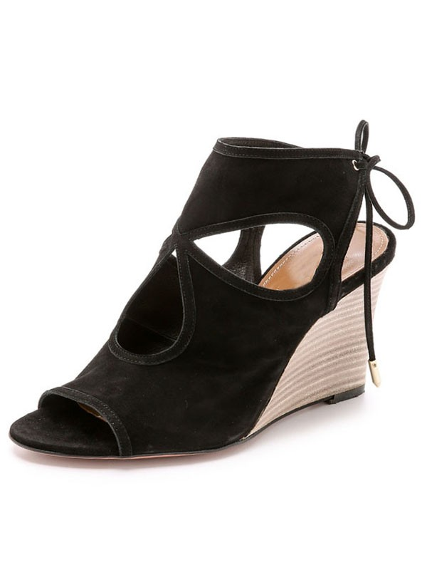 7541f839154 The Most Stylish Women s Wedge Heel Suede Peep Toe With Lace-up Sandal  Ankle Black