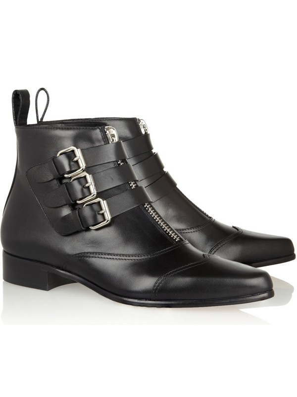 The Most Fashionable Women's Cattlehide Leather Kitten Heel Closed Toe With Zipper Buckle Black Booties