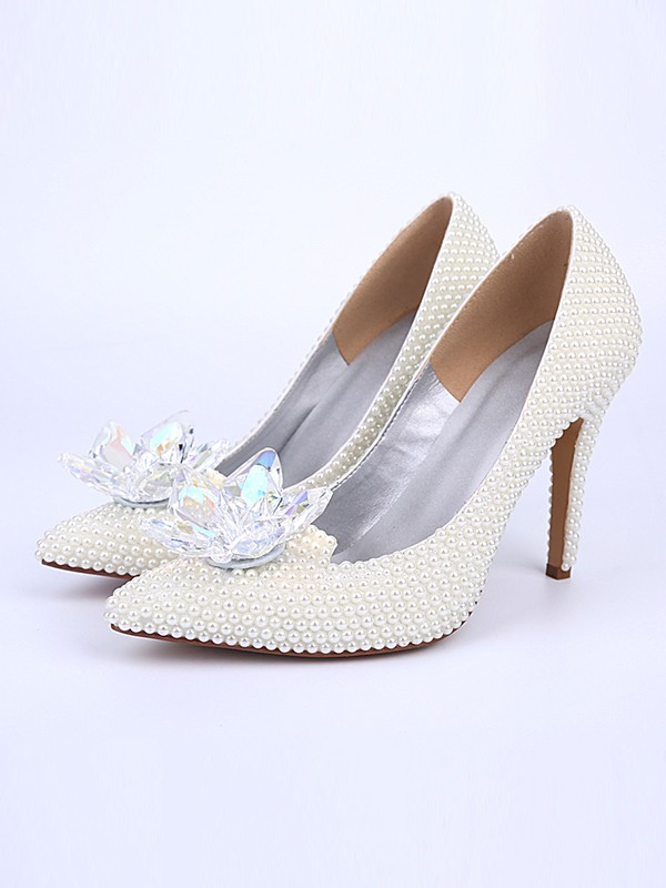 The Most Trendy Women's Stiletto Heel With Pearl Crystal Flower Closed Toe White Wedding Shoes