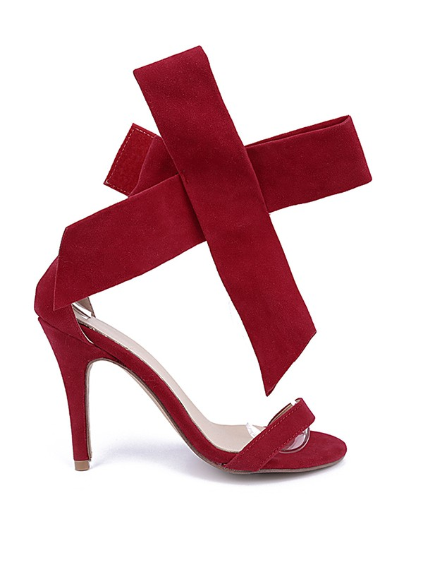 Fashion Trends Women's Suede Peep Toe Stiletto Heel With Bowknot Party Sandal High Heels