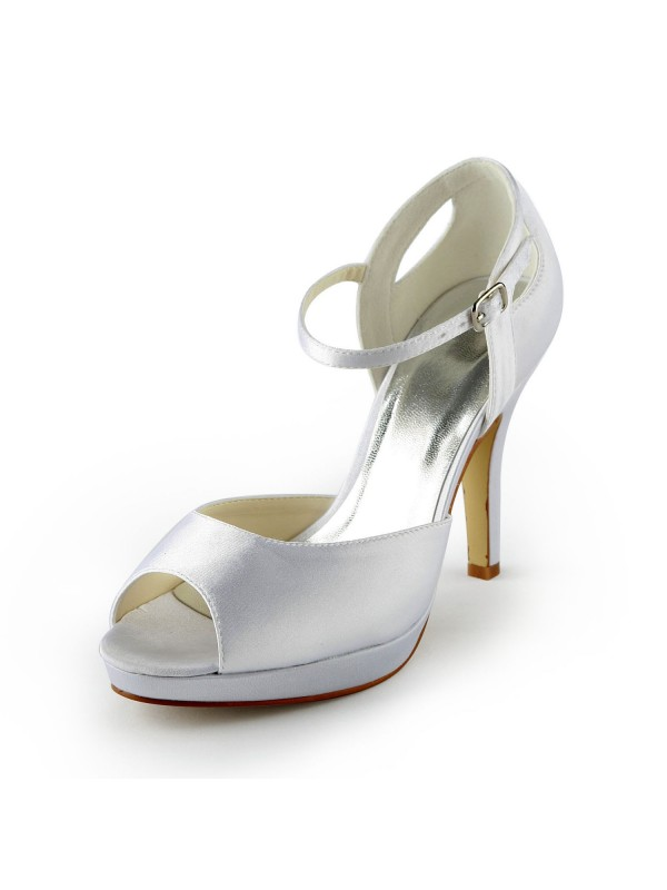 The Most Fashionable Women's Satin Stiletto Heel Peep Toe Platform Sandals White Wedding Shoes With Buckle