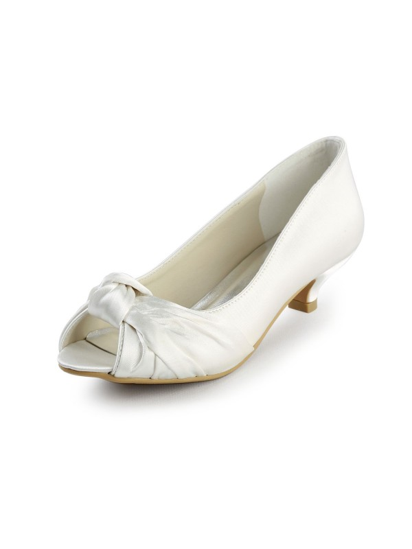 The Most Stylish Women's Satin Kitten Heel Peep Toe Sandals White Wedding Shoes With Bowknot