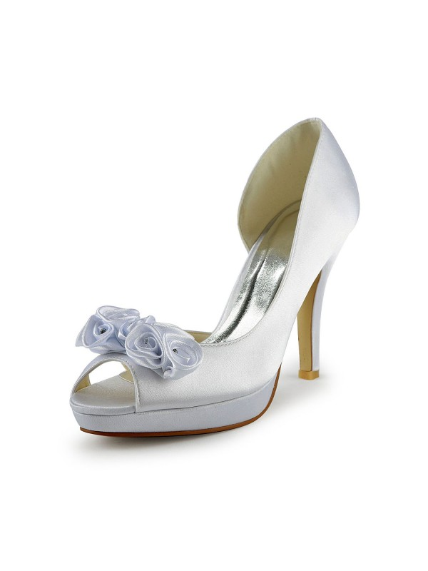 The Most Fashionable Women's Satin Stiletto Heel Peep Toe With Flower White Wedding Shoes