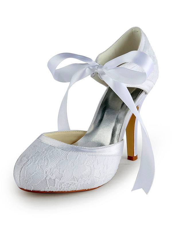 The Most Fashionable Women's Satin Stiletto Heel Pumps with Lace White Wedding Shoes