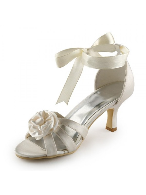 The Most Stylish Women's Satin Stiletto Heel Sandals Ivory Wedding Shoes With Satin Flower