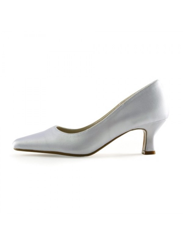 The Most Stylish Women's Satin Upper Chunky Heel Pointed Toe White Wedding Shoes