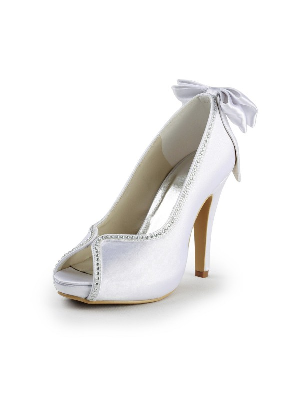 The Most Fashionable Women's Satin Stiletto Heel Peep Toe With Bowknot White Wedding Shoes