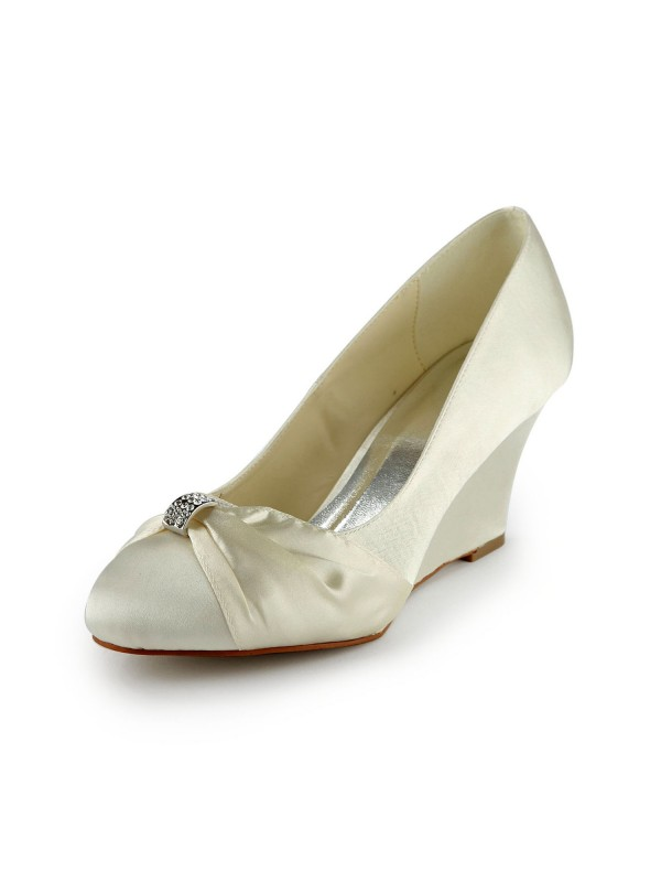 Fashion Trends Women's Satin Wedge Heel Wedges With Rhinestone Ivory Wedding Shoes
