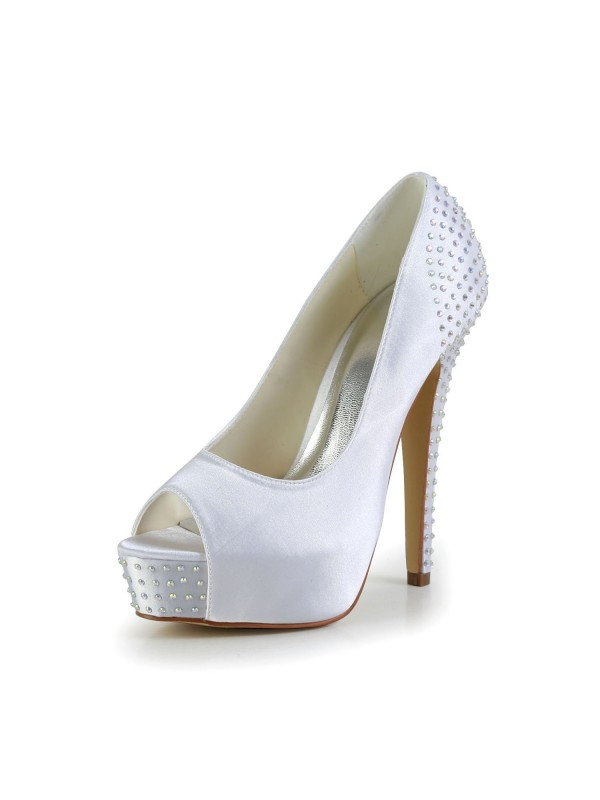 The Most Stylish Women's Satin Stiletto Heel Peep Toe Platform White Wedding Shoes With Rhinestone