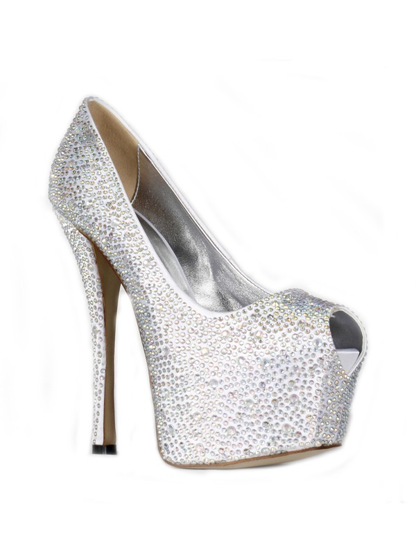 The Most Stylish Women's Satin Stiletto Heel Peep Toe Platform With Rhinestone High Heels